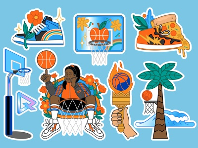Basketball sticker pack play game flower shoes snickers girl power new yourk street streetball baseball basketball typography branding badge vector sticker print design cartoon illustration