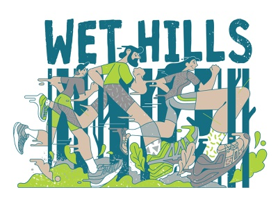 Wet hills tree editorial fast competition wet nature forest activity sport running runners run autumn flat typography vector character print design illustration