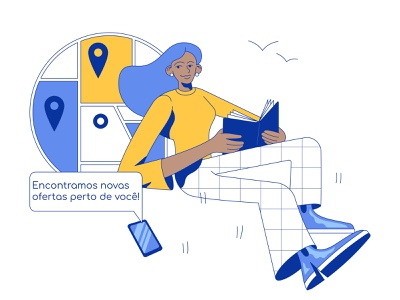Illustration for app mobile application people location map flat modern relax woman editorial service digital app ux ui graphic vector character design illustration