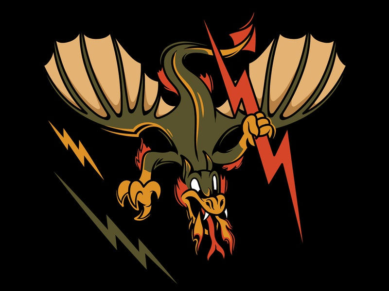 Print design for sniping team fly angry team mascot sniping strong lightning military dragon branding logo vintage graphic design character vector print sticker illustration cartoon