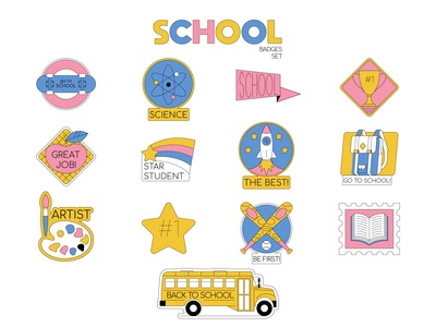 School badges set