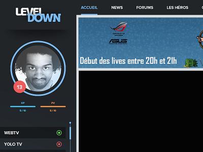 LevelDown Redesign game stream webdesign streaming gaming redesign