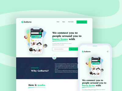 Landing page for GoBarta uidesign barter web minimal branding vector typography landing page visual design design uxui ui