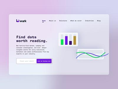 Wurk Landing page exploration website minimal web minimalism visual design landingpage website design data design illustration typography vector ui