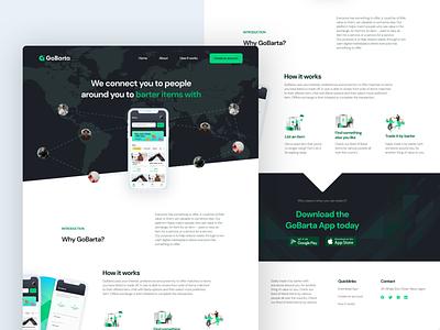 GoBarta Landing page - The first option vector landing design landing page website website design minimal web typography brand identity design ui