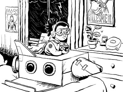 Inktober sketch - rocket, storm, dizzy, trap. character cartoon procreate art
