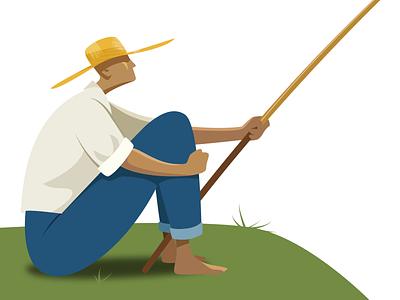 Fisherman people vector illustration affinity designer