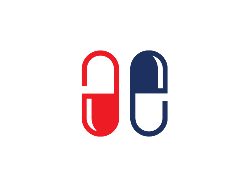 Ae monogram design medical capsules logo ae