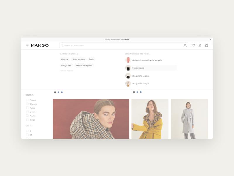 Mango, Search bar — Desktop shopping ecommerce branding search results design desktop web navigation menu navigation bar navigation search moda fashion product design ux visual design ui search bar mango