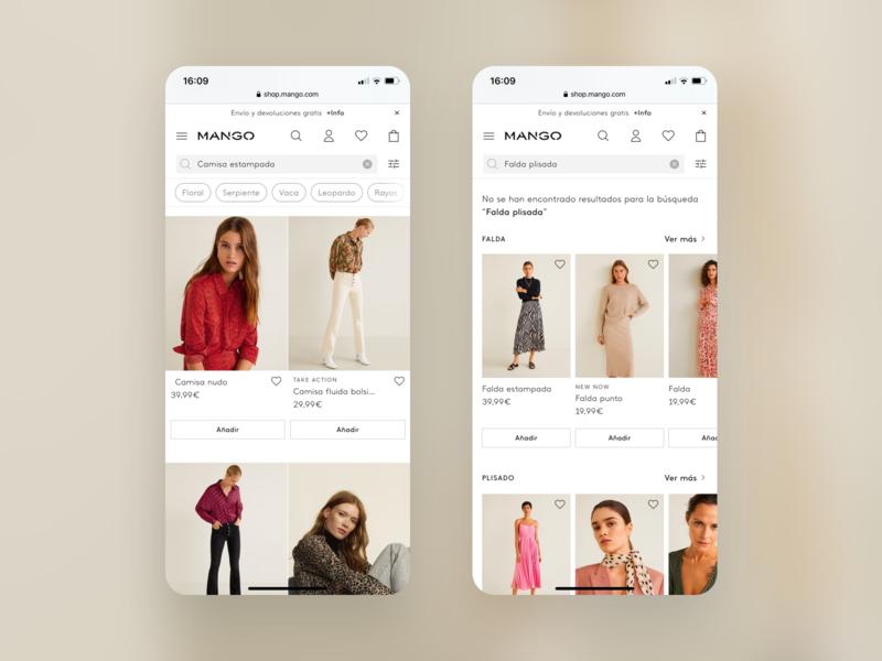 Mango, Search results — Web Mobile visual design design ai branding web mobile web filters filtering search bar search results search engine website design product design ux ui mango fashion