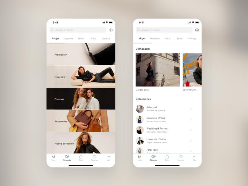Mango, Taxonomy — App ecommerce ios navigation visual design product design ux ui mango fashion design
