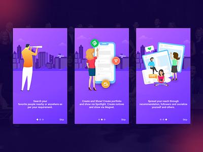 Walk Throughs Design designing social walk through app design sketch ui illustration