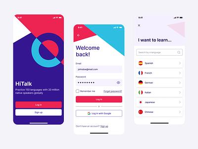HiTalk — App [Case study] language login sign up ui ux product design