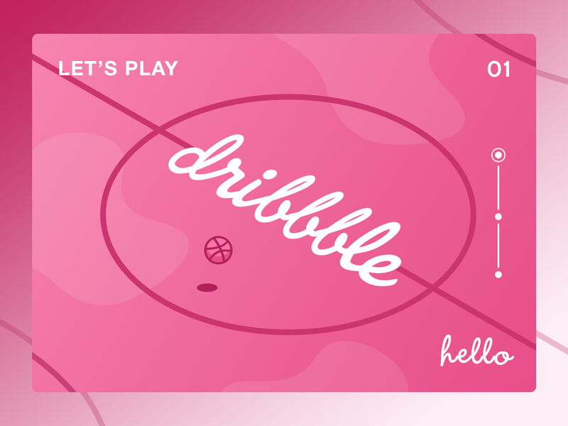 Hello Dribbble! debut thanks basketball pink product hello first shot court invite