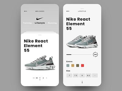 Nike App clean  creative product debut mobile layout minimal clean ux ui concept shop app shop nike app