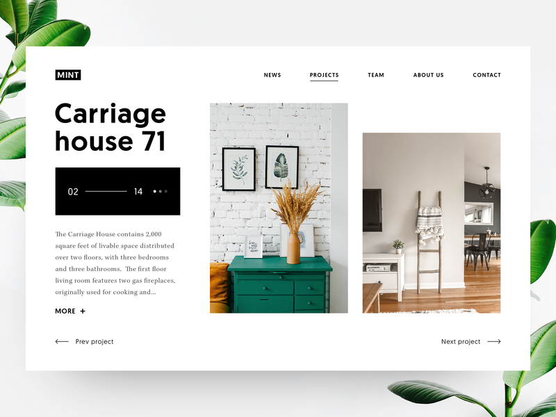 Mint Studio slider carousel furniture form website layout minimal elements ux ui design agency web desgin project interior home clean  creative product