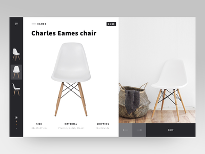 Eames Shop accents black black  white ecofriendly e commerce item card item minimalistic shop design shop eames chair eames clean  creative product website ux ui layout minimal