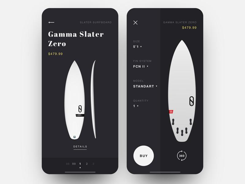 Surf Shop App surfing surf board surf ecofriendly black  white black shop app shop design item card item ecomerce minimalistic app shop ux ui layout minimal clean  creative product