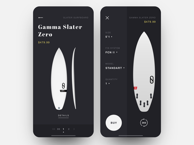 Surf Shop App surfing surf board surf ecofriendly black  white black shop app shop design item card item ecomerce minimalistic app shop ux ui layout minimal clean  creative product