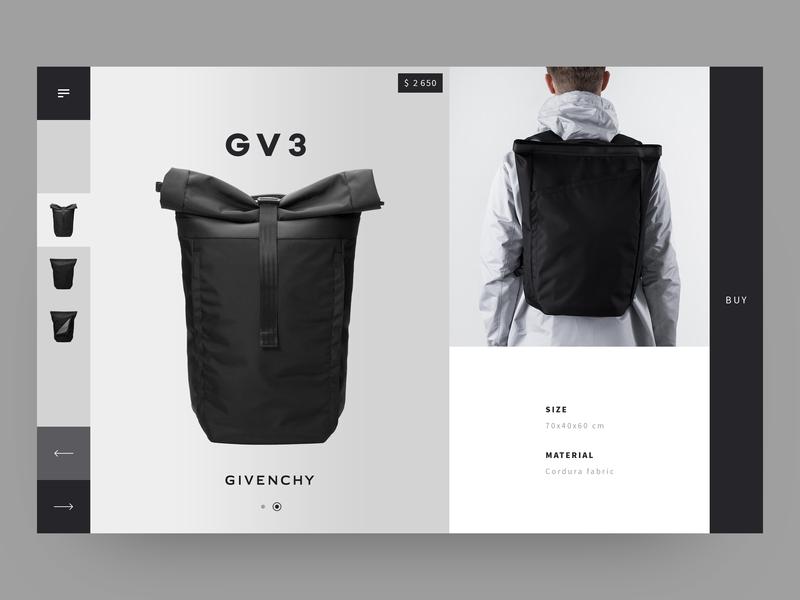Givenchy luxury brand luxury ecomerce backpack givenchy item clean  creative shop design minimalistic item card ecofriendly black  white black website ux ui shop minimal layout product