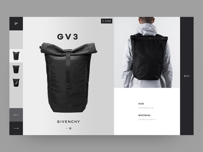 Givenchy luxury brand luxury ecomerce backpack givenchy item clean  creative shop design minimalistic item card ecofriendly black  white black website ux ui shop minimal layout product