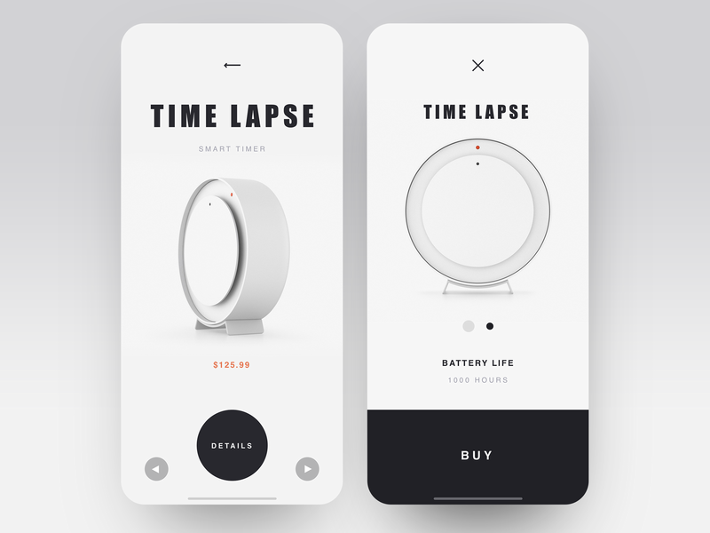 Time Lapse application timer watch black  white shop app luxury ecomerce app item card item shop design ecofriendly minimalistic ui ux shop minimal layout clean  creative product