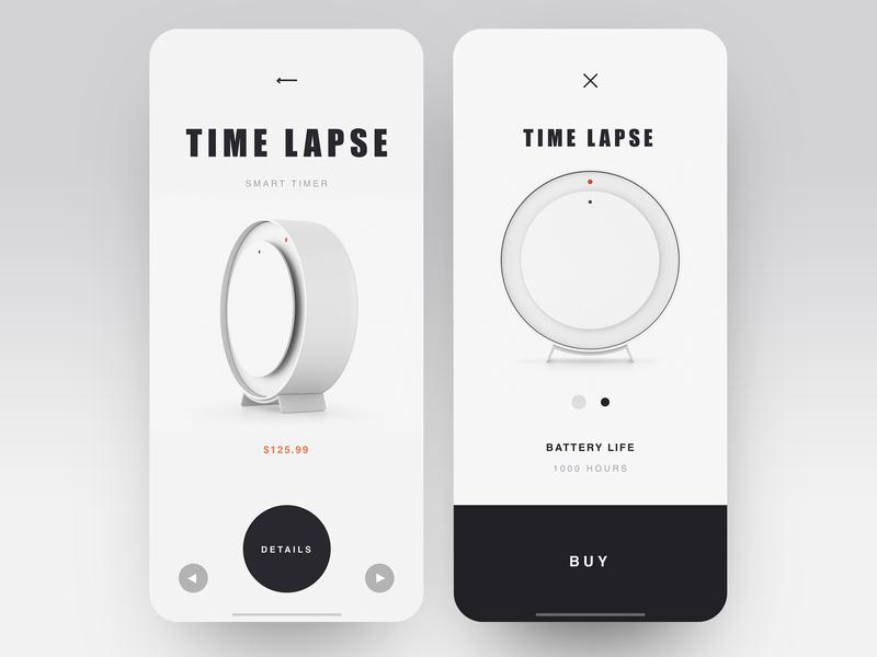 Time Lapse application timer watch black  white shop app luxury ecomerce app item card item shop design ecofriendly minimalistic ui ux shop minimal layout clean  creative product
