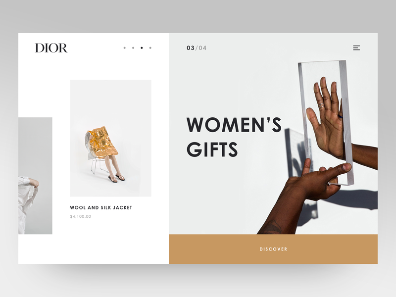 Main Page for Dior shop grey gold crisp typography shop design shop product catalog product minimalistic minimal main screen main page luxury layout fashion brand fashion ecommerce dior clean  creative clean