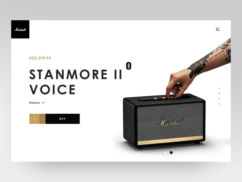 Marshall Stanmore 2 Voice speakers speaker item item card ecomerce ecofriendly marshall gold luxury black website minimalistic shop design shop ux ui layout clean  creative minimal product