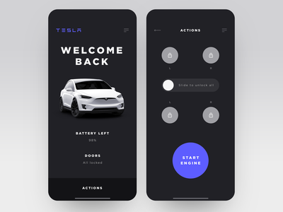 Tesla Car Control - App Interface innovation user inteface remote control electric car layout ios electric vehicle application ui application app luxury clean  creative minimalistic ux ui minimal ecofriendly tesla product