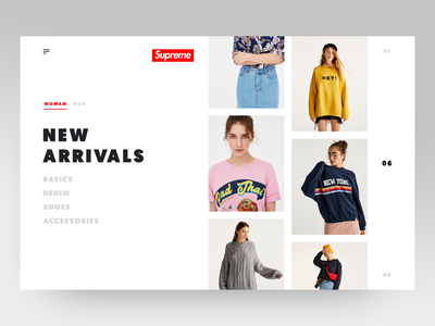 Main Page for Supreme clothes shop clothes young life arrivals clean luxury ux ui minimal website ecomerce shop design fashion brand fashion shop minimalistic layout product clean  creative supreme