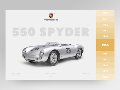 Porsche History Website 1955 cabriolet grey cars timeline luxury car luxury clean minimalistic ux ui layout minimal website design website vintage car vintage car clean  creative porsche
