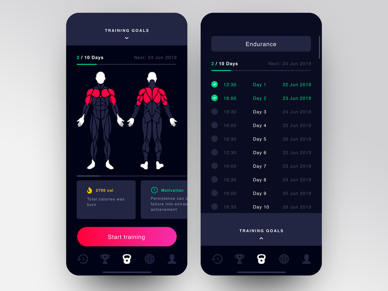 Training App Interface bright dark app workouts workout workout app training app training simple app design app concept app clean minimalistic minimal product ui ux sport app sport clean  creative
