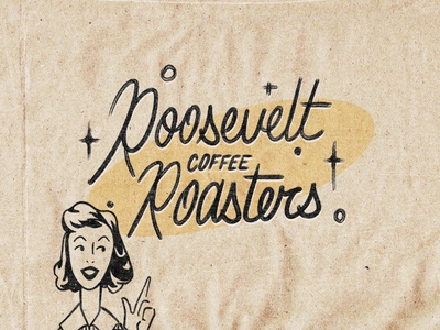 Roosevelt Coffee Roasters texture photoshop vintage retro illustration