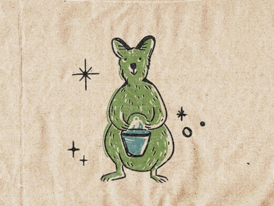 Roosevelt Wallaby vintage retro animal wallaby illustration
