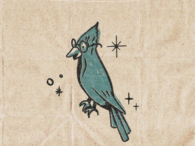 Roosevelt Quetzal blue vintage retro bird illustration