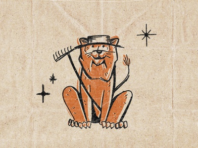 Roosevelt Lion texture retro vintage lion illustration