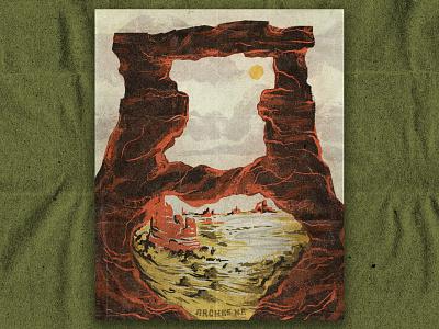 A for Arches texture paper illustration desert illustration arches national park desert national park arches