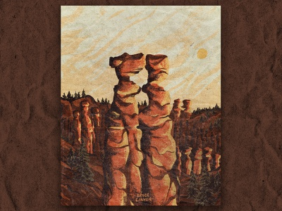 B for Bryce Canyon national park bryce canyon texture retro vintage illustration