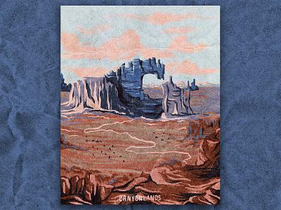 C for Canyonlands desert canyons nature national park canyonlands texture vintage retro illustration
