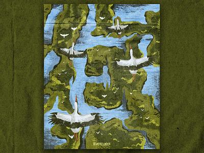 E for Everglades nature florida swamp everglades national park texture vintage retro illustration