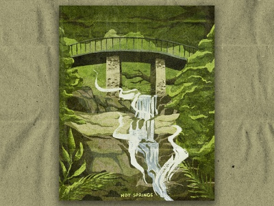 H for Hot Springs hot springs arkansas paper nature texture vintage retro national park illustration
