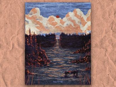 I for Isle Royale postcard hiking island michigan nature national park texture vintage retro illustration