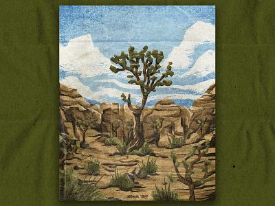 J for Joshua Tree california desert illustration joshua tree desert nature national park texture vintage retro illustration