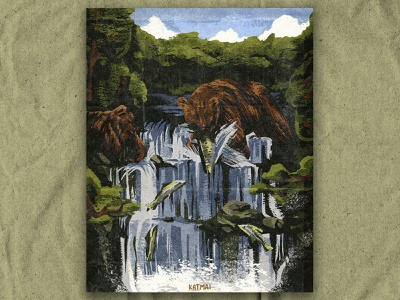 K for Katmai alaska retro vintage nature texture national park illustration