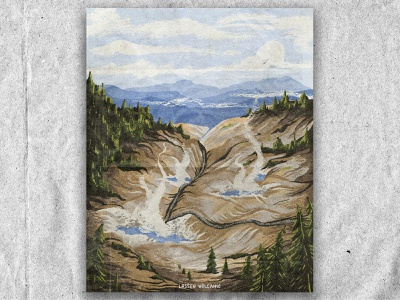 L for Lassen Volcanic park volcano nature national park texture vintage retro illustration