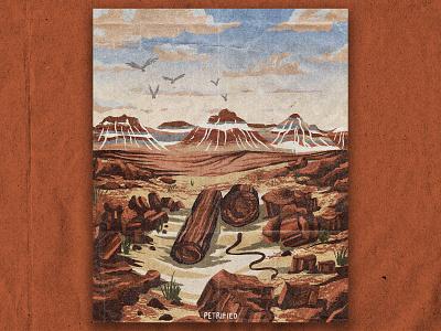 P for Petrified Forest desert nature national park texture vintage retro illustration