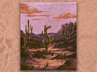 S for Saguaro desert illustration pink desert nature national park texture vintage retro illustration