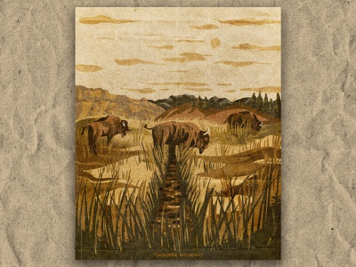 T for TheodoreRoosevelt grassland north dakota bison nature national park texture vintage retro illustration