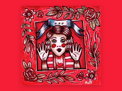 Post It Note #12 american traditional mime post it pen and ink illustration